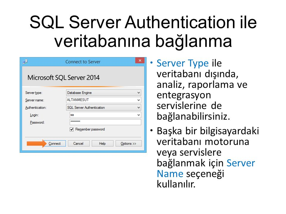 SQL Server Authentication ile veritabanına bağlanma