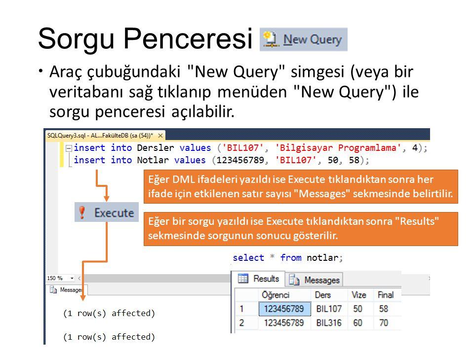 Sorgu Penceresi Araç çubuğundaki New Query simgesi (veya bir veritabanı sağ tıklanıp menüden New Query ) ile sorgu penceresi açılabilir.