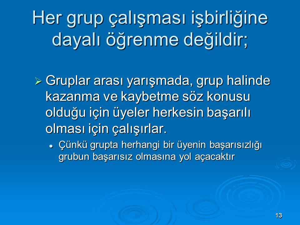 Her grup çalışması işbirliğine dayalı öğrenme değildir;