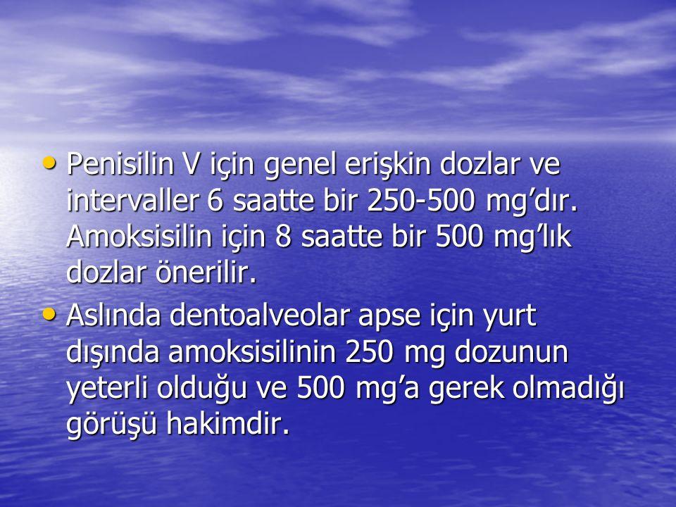 Penisilin V için genel erişkin dozlar ve intervaller 6 saatte bir 250-500 mg'dır. Amoksisilin için 8 saatte bir 500 mg'lık dozlar önerilir.