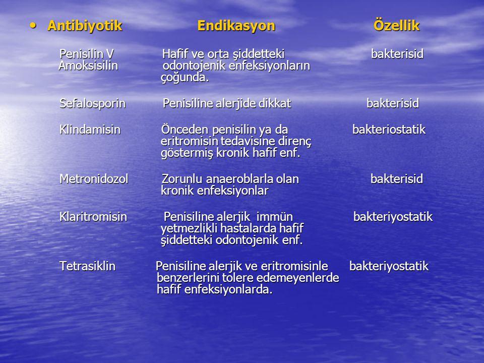 Antibiyotik Endikasyon Özellik