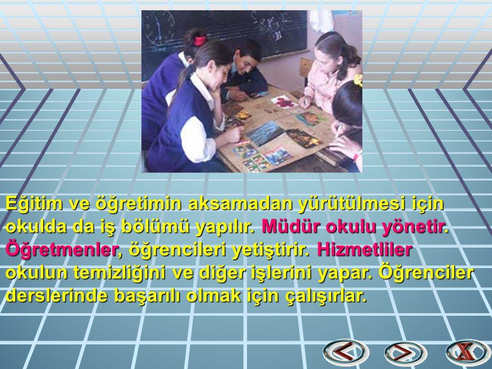 Eğitim ve öğretimin aksamadan yürütülmesi için okulda da iş bölümü yapılır.
