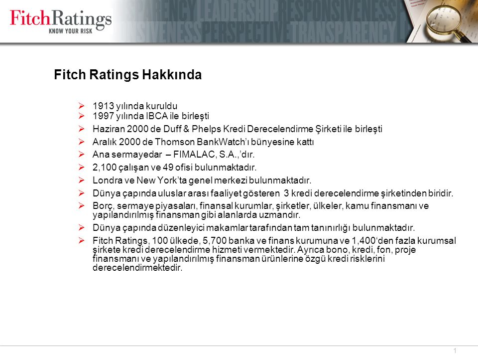 Fitch Ratings AŞ Fitch Ratings AŞ, Türkiye ofisi kurulduğu 1999 yılından beri Türkiye'de kredi derecelendirme hizmeti vermektedir.