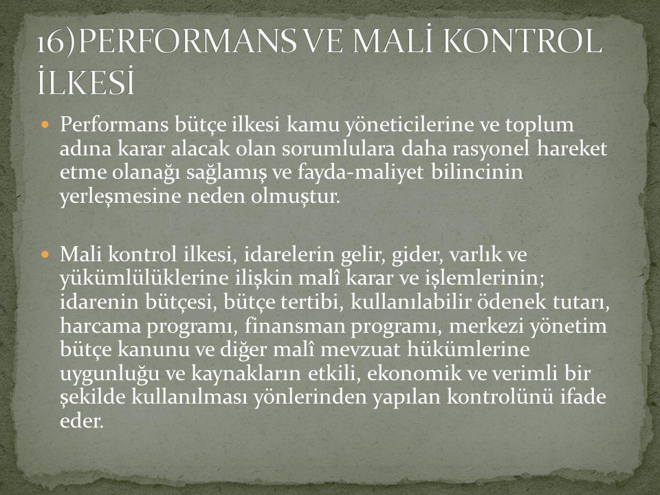 16)PERFORMANS VE MALİ KONTROL İLKESİ