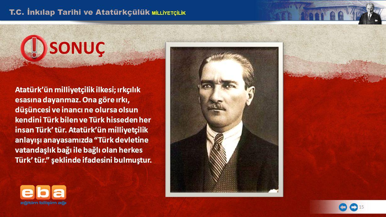 T.C. İnkılap Tarihi ve Atatürkçülük MİLLİYETÇİLİK