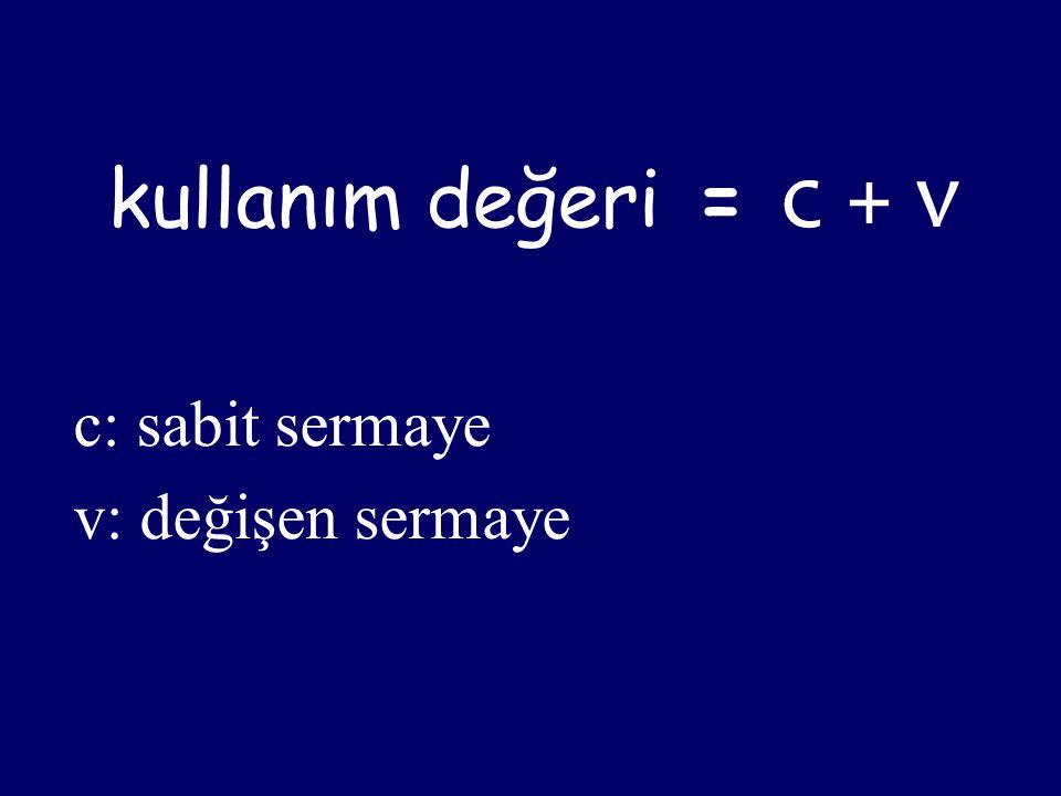 kullanım değeri = c + v c: sabit sermaye v: değişen sermaye