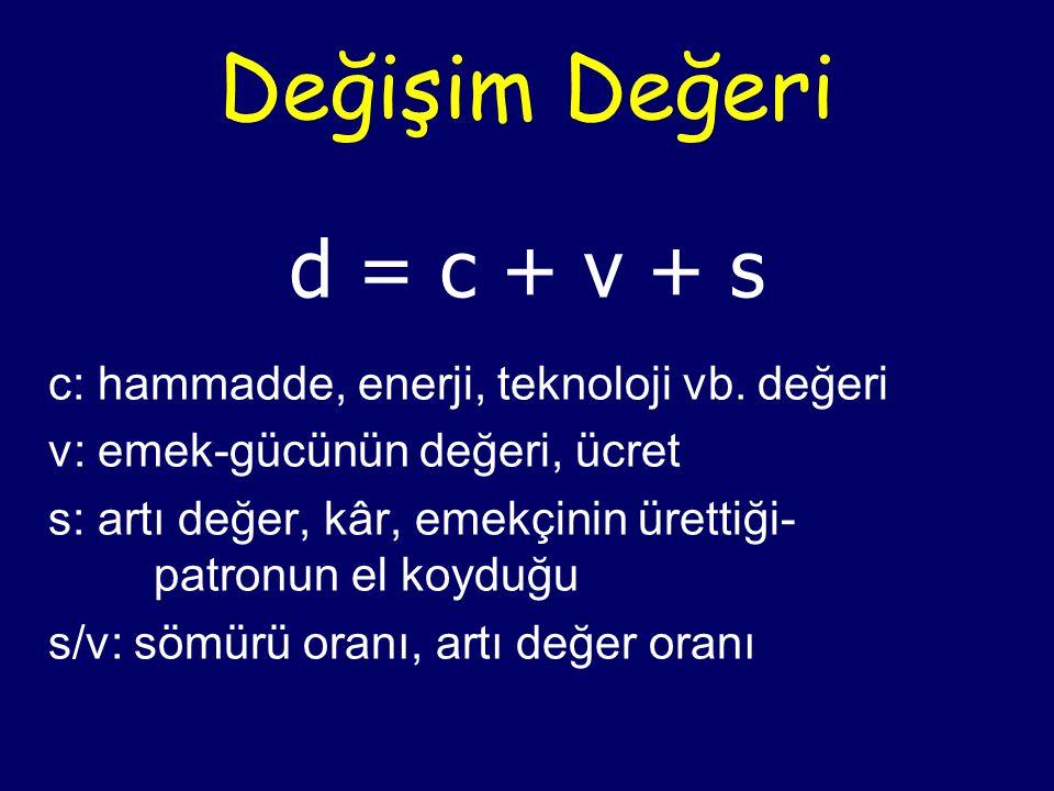 Değişim Değeri d = c + v + s c: hammadde, enerji, teknoloji vb. değeri