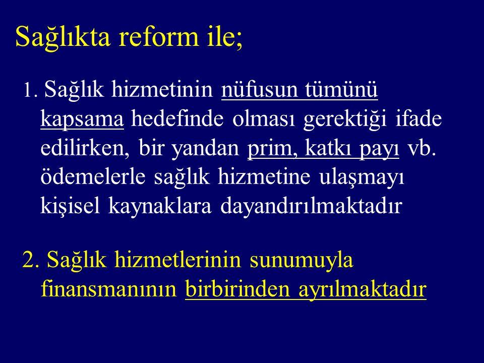 Sağlıkta reform ile;