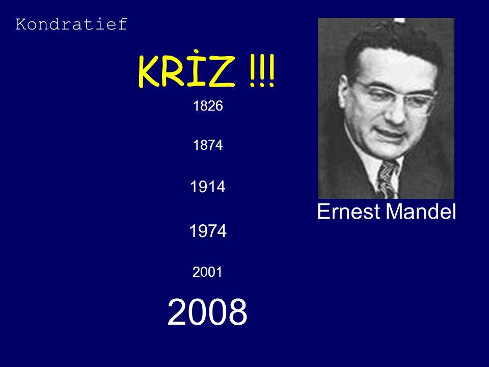 Kondratief KRİZ !!! 1826 1874 1914 1974 2001 2008 Ernest Mandel