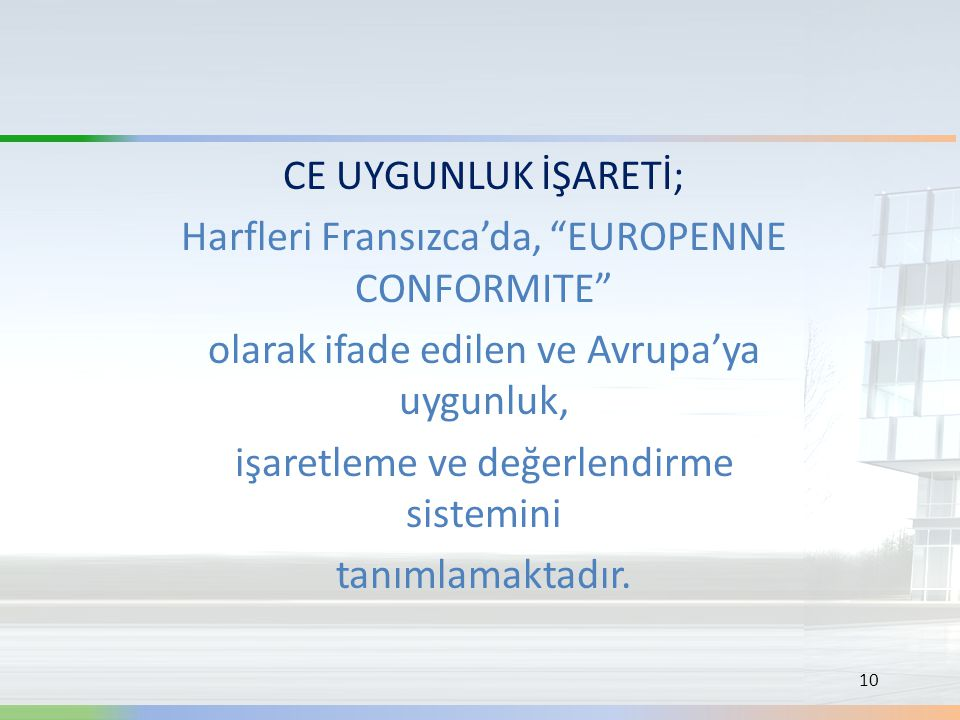 Harfleri Fransızca'da, EUROPENNE CONFORMITE