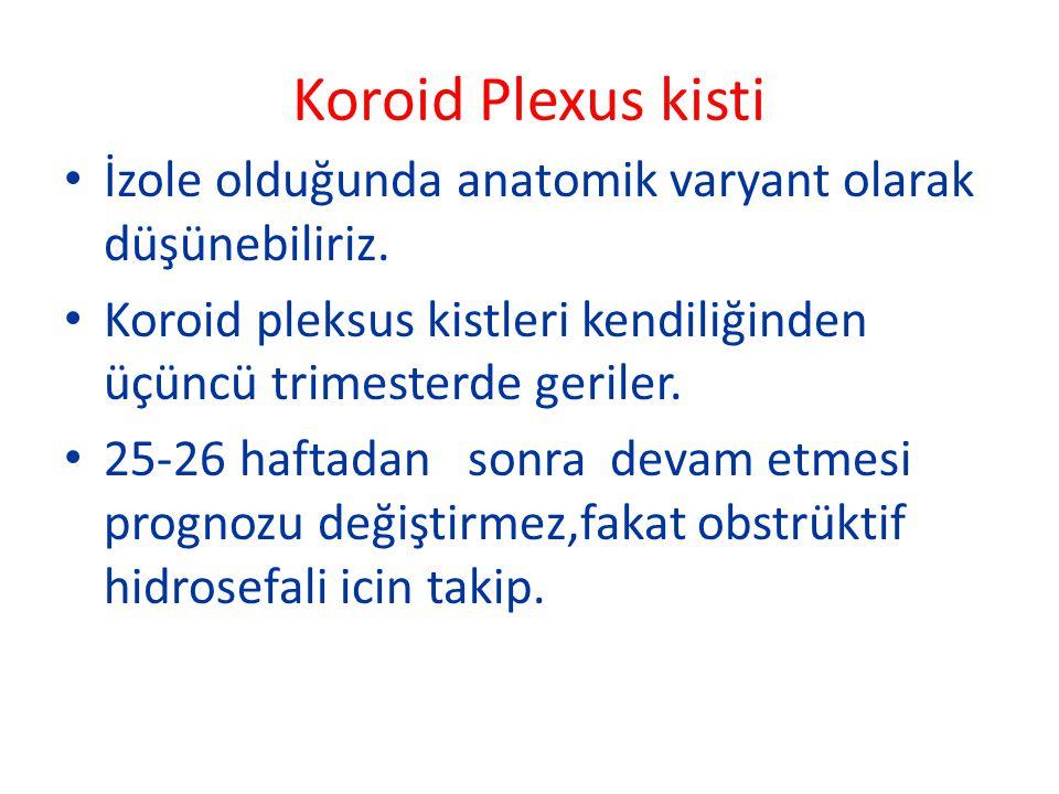 Koroid Plexus kisti İzole olduğunda anatomik varyant olarak düşünebiliriz. Koroid pleksus kistleri kendiliğinden üçüncü trimesterde geriler.