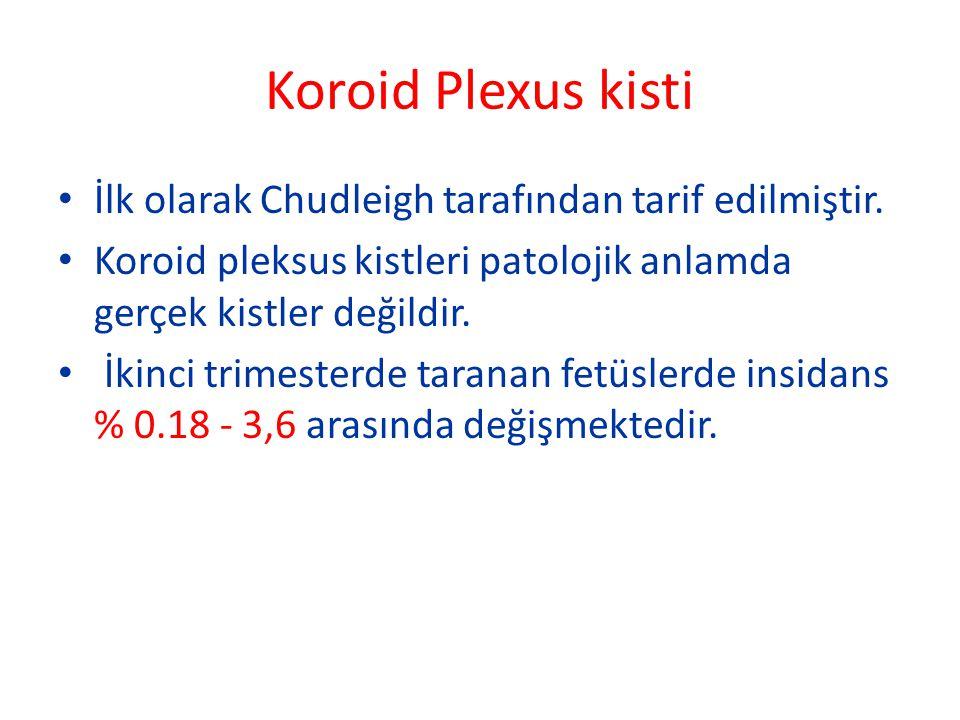 Koroid Plexus kisti İlk olarak Chudleigh tarafından tarif edilmiştir.