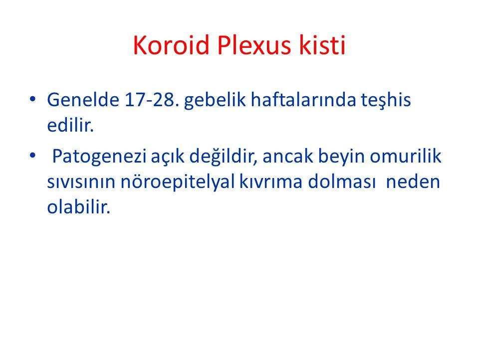 Koroid Plexus kisti Genelde 17-28. gebelik haftalarında teşhis edilir.