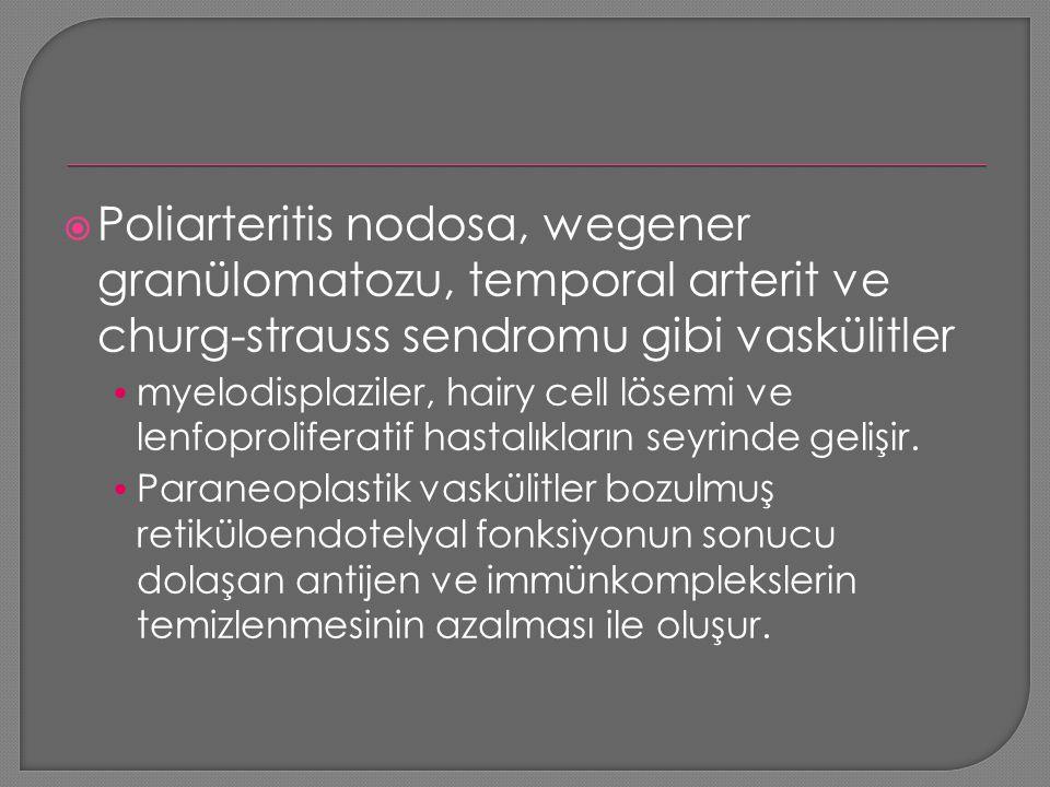Poliarteritis nodosa, wegener granülomatozu, temporal arterit ve churg-strauss sendromu gibi vaskülitler