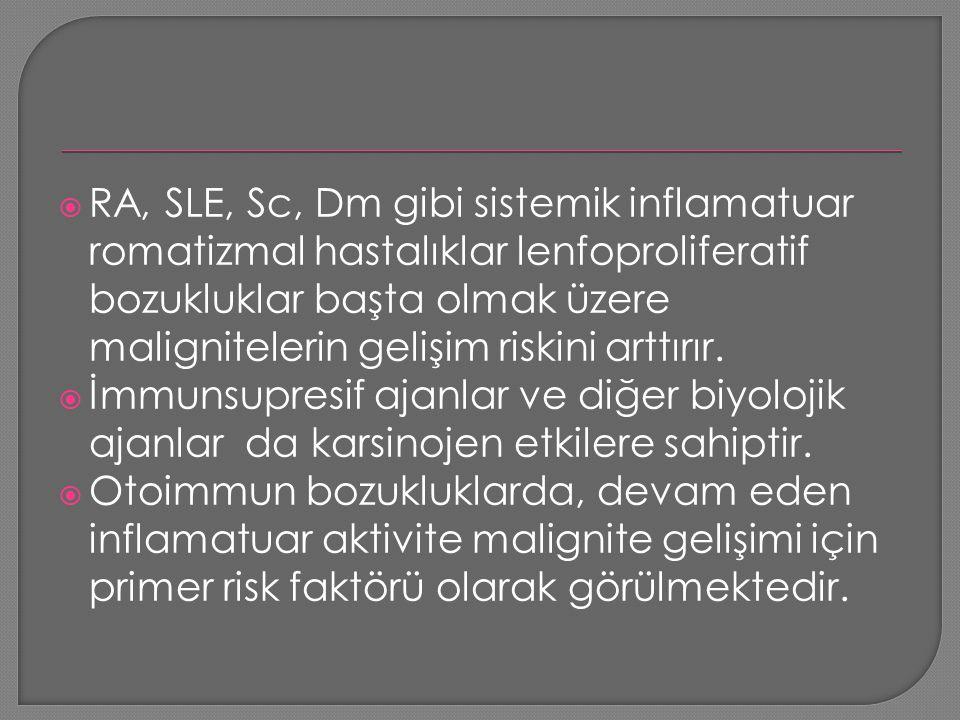 RA, SLE, Sc, Dm gibi sistemik inflamatuar romatizmal hastalıklar lenfoproliferatif bozukluklar başta olmak üzere malignitelerin gelişim riskini arttırır.