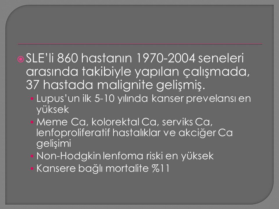 SLE'li 860 hastanın 1970-2004 seneleri arasında takibiyle yapılan çalışmada, 37 hastada malignite gelişmiş.