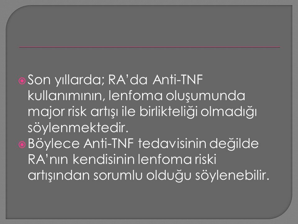 Son yıllarda; RA'da Anti-TNF kullanımının, lenfoma oluşumunda major risk artışı ile birlikteliği olmadığı söylenmektedir.