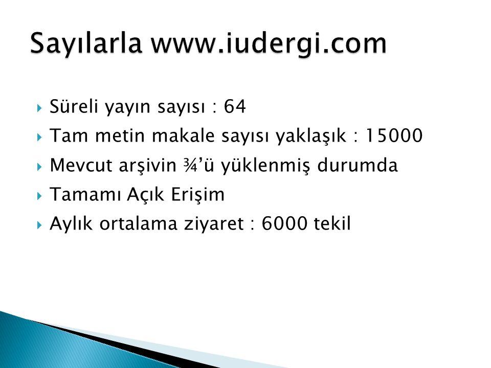 Sayılarla www.iudergi.com