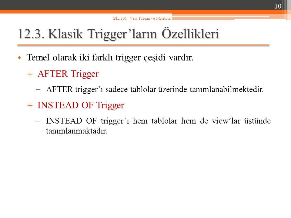 12.3. Klasik Trigger'ların Özellikleri