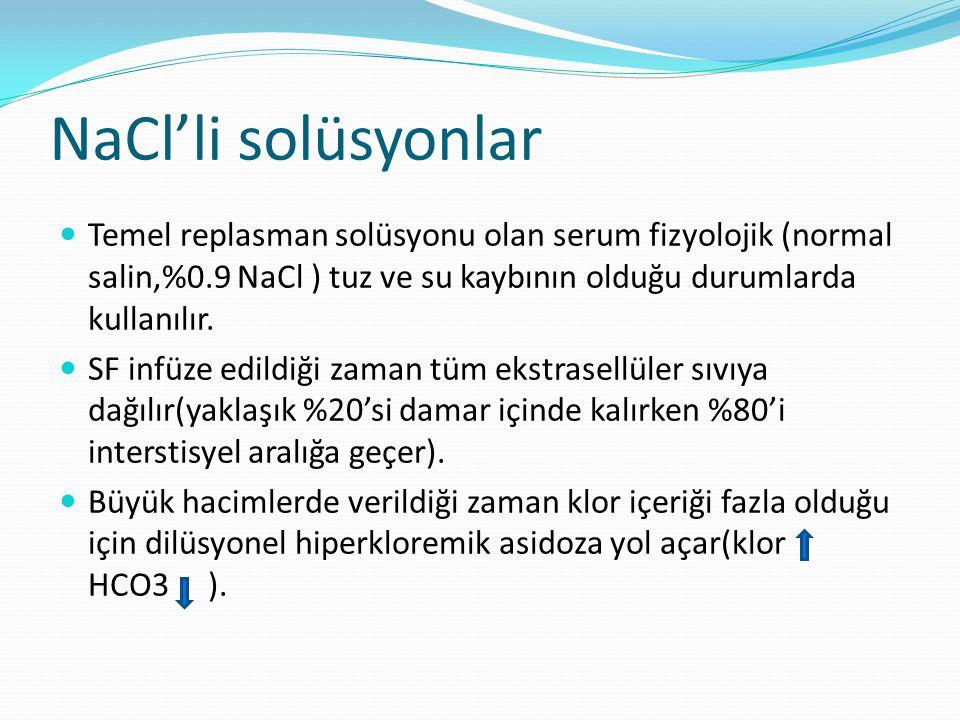 NaCl'li solüsyonlar Temel replasman solüsyonu olan serum fizyolojik (normal salin,%0.9 NaCl ) tuz ve su kaybının olduğu durumlarda kullanılır.