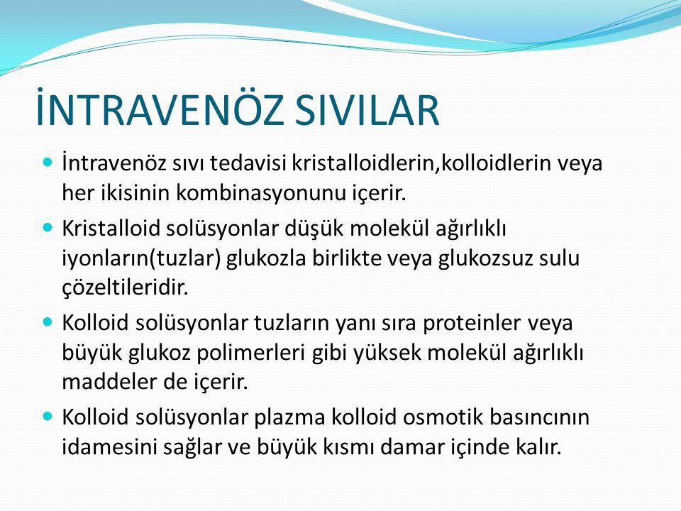 İNTRAVENÖZ SIVILAR İntravenöz sıvı tedavisi kristalloidlerin,kolloidlerin veya her ikisinin kombinasyonunu içerir.