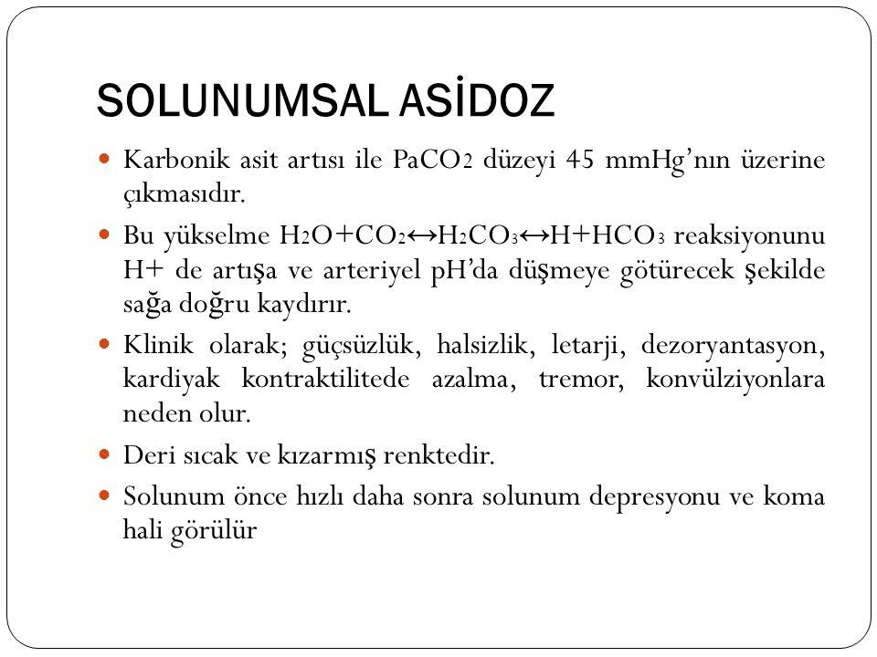 SOLUNUMSAL ASİDOZ Karbonik asit artısı ile PaCO2 düzeyi 45 mmHg'nın üzerine çıkmasıdır.