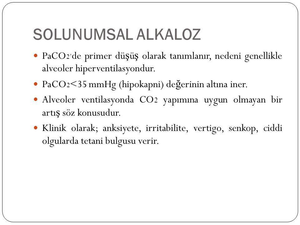 SOLUNUMSAL ALKALOZ PaCO2'de primer düşüş olarak tanımlanır, nedeni genellikle alveoler hiperventilasyondur.