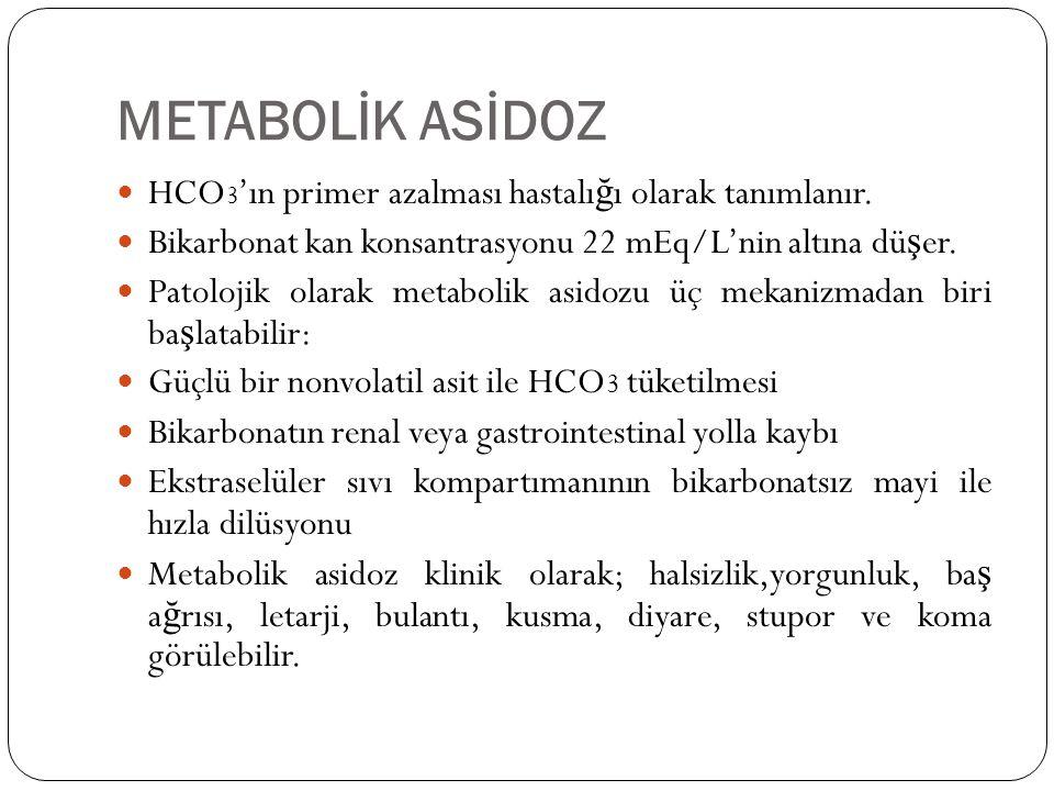 METABOLİK ASİDOZ HCO3'ın primer azalması hastalığı olarak tanımlanır.