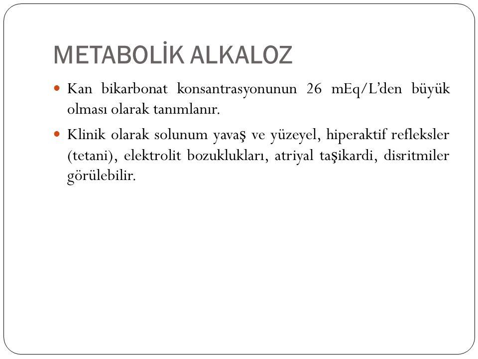 METABOLİK ALKALOZ Kan bikarbonat konsantrasyonunun 26 mEq/L'den büyük olması olarak tanımlanır.