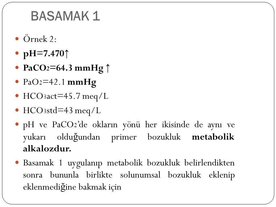 BASAMAK 1 Örnek 2: pH=7.470↑ PaCO2=64.3 mmHg ↑ PaO2=42.1 mmHg