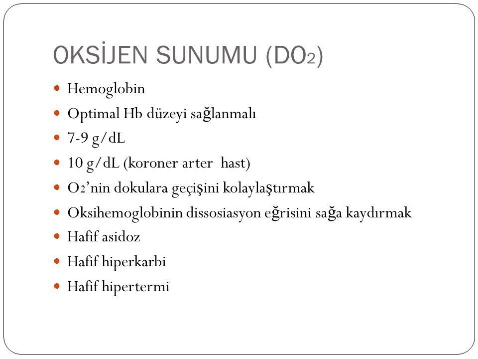 OKSİJEN SUNUMU (DO2) Hemoglobin Optimal Hb düzeyi sağlanmalı 7-9 g/dL