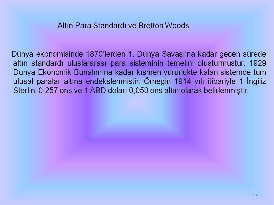 Altın Para Standardı ve Bretton Woods