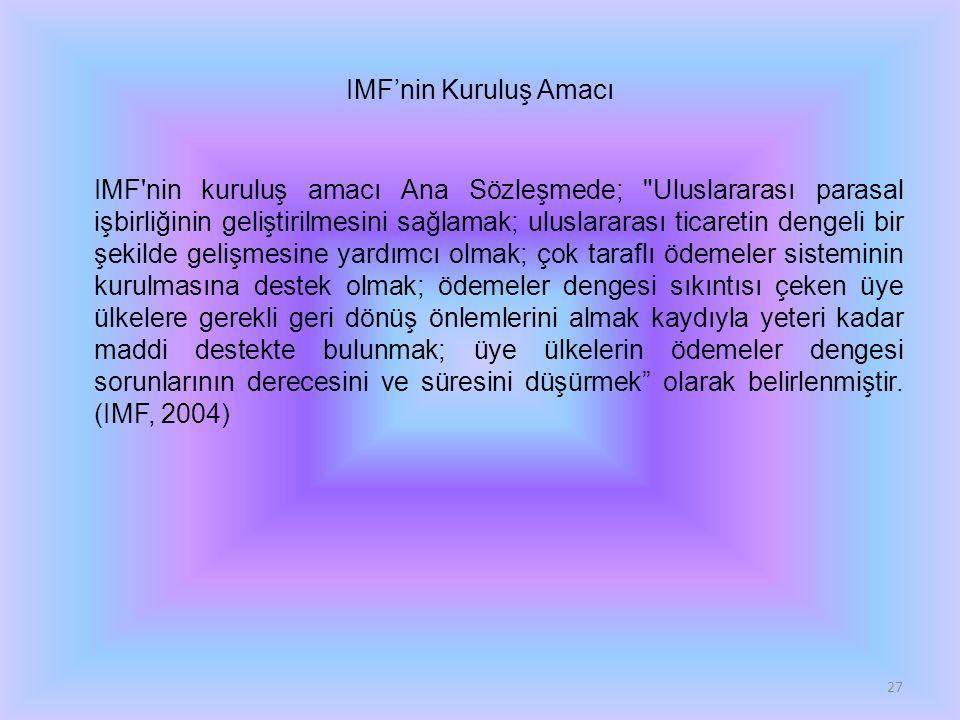 IMF'nin Kuruluş Amacı