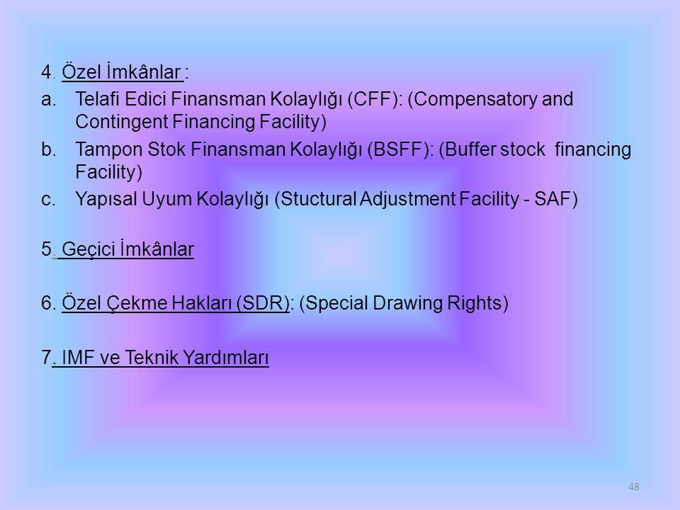 4. Özel İmkânlar : Telafi Edici Finansman Kolaylığı (CFF): (Compensatory and Contingent Financing Facility)