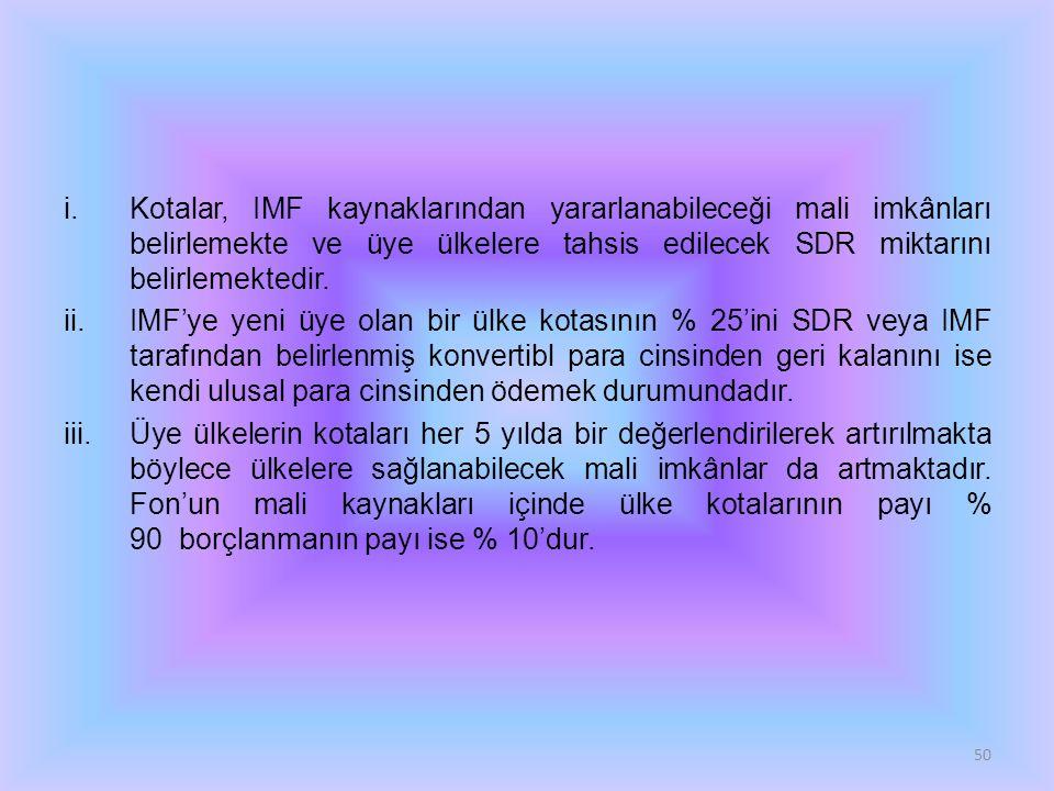 Kotalar, IMF kaynaklarından yararlanabileceği mali imkânları belirlemekte ve üye ülkelere tahsis edilecek SDR miktarını belirlemektedir.