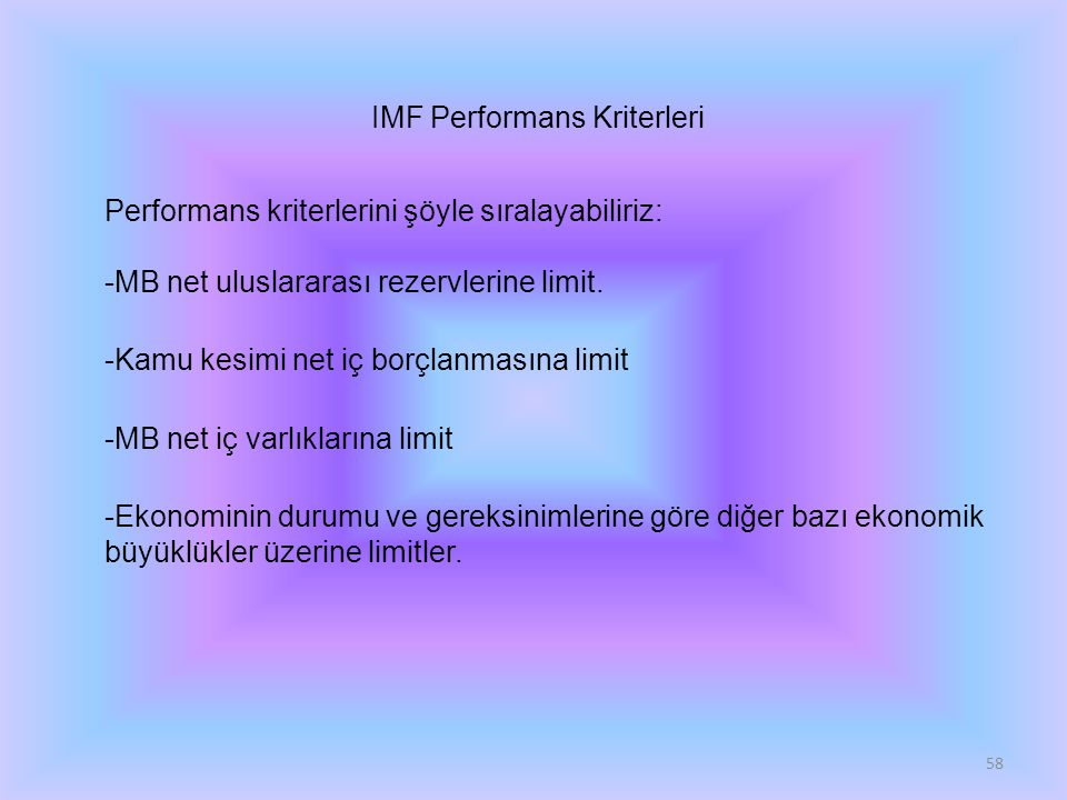 IMF Performans Kriterleri