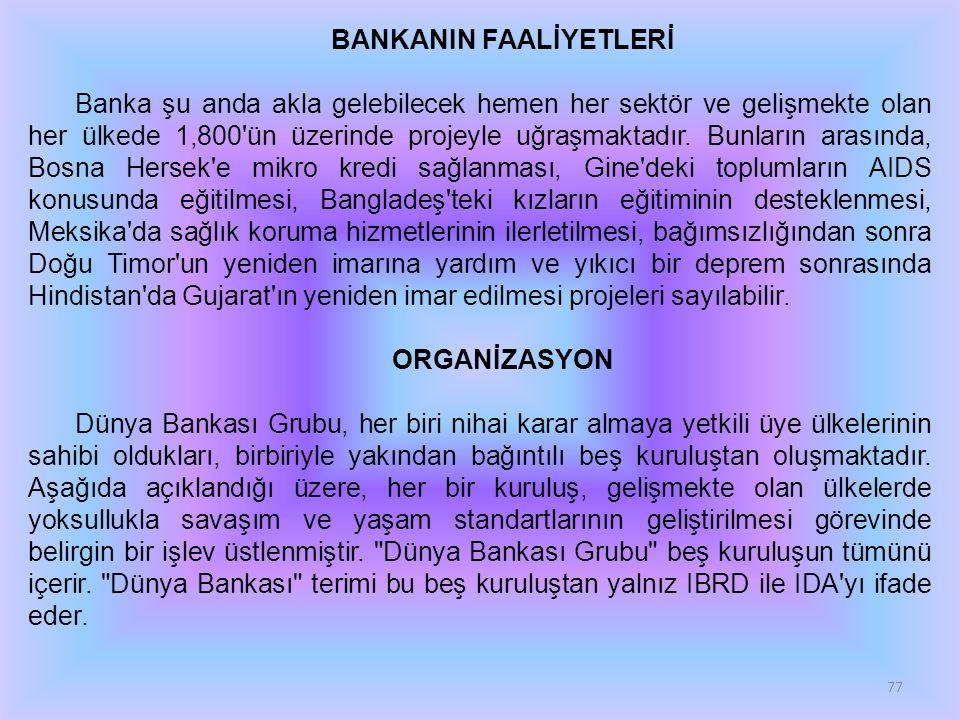BANKANIN FAALİYETLERİ