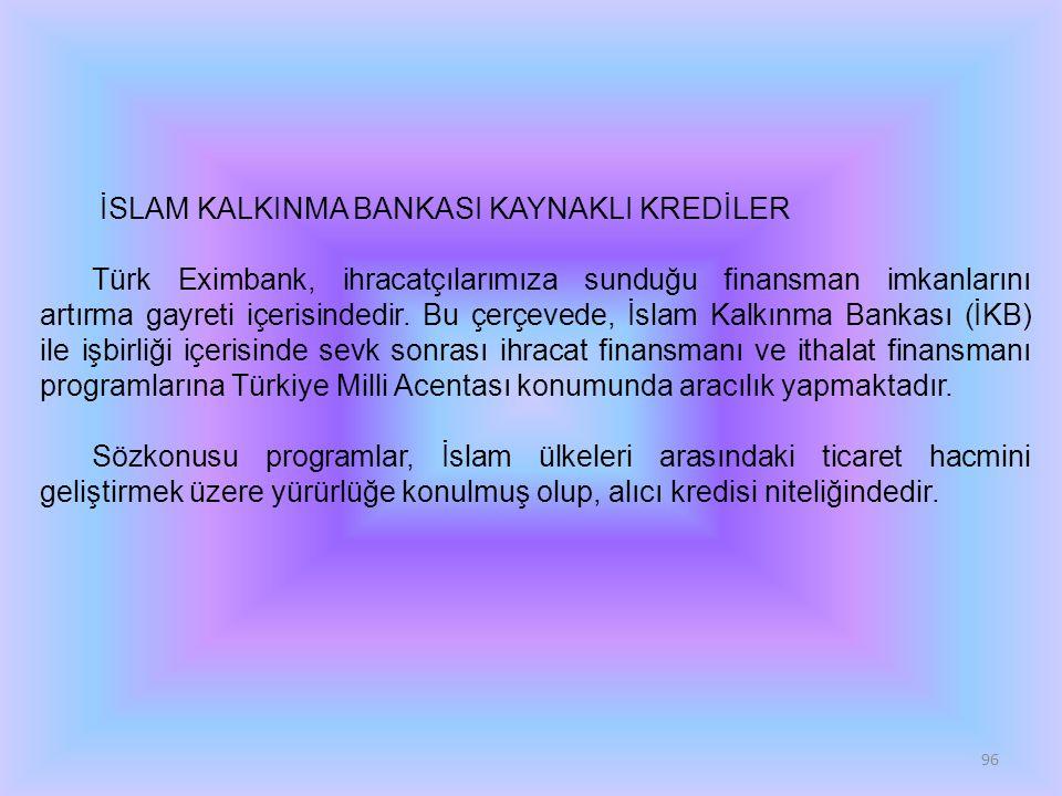 İSLAM KALKINMA BANKASI KAYNAKLI KREDİLER