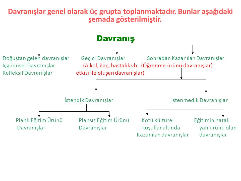 Davranışlar genel olarak üç grupta toplanmaktadır