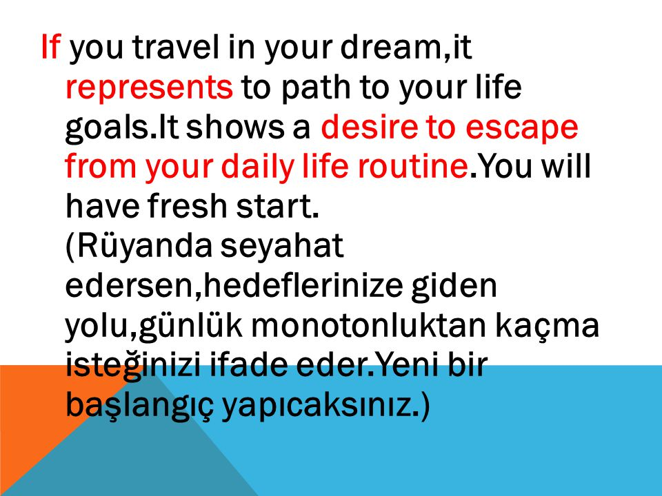 If you travel in your dream,it represents to path to your life goals