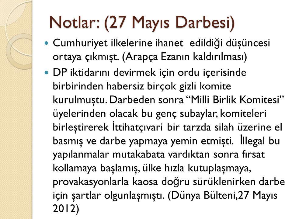 Notlar: (27 Mayıs Darbesi)
