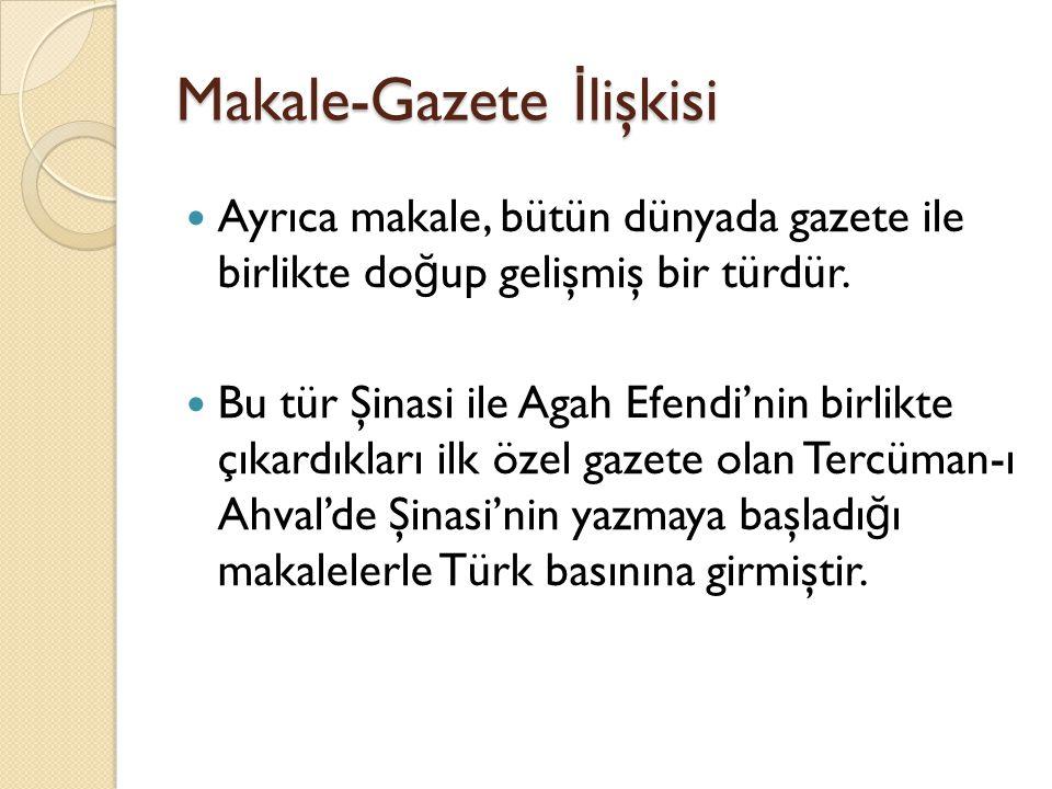 Makale-Gazete İlişkisi