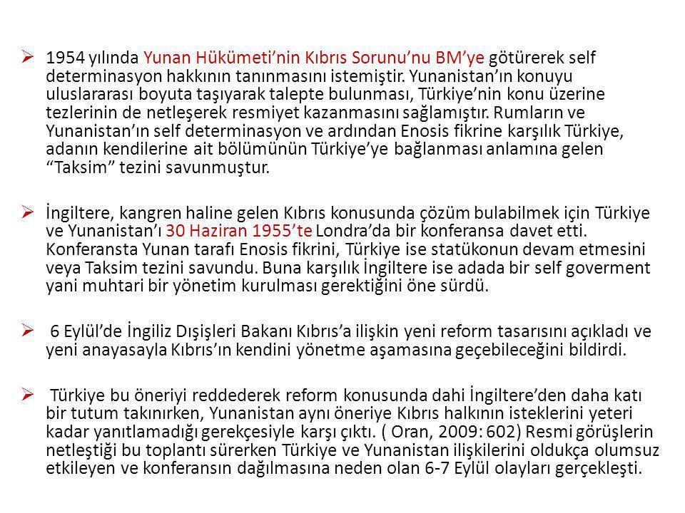 1954 yılında Yunan Hükümeti'nin Kıbrıs Sorunu'nu BM'ye götürerek self determinasyon hakkının tanınmasını istemiştir. Yunanistan'ın konuyu uluslararası boyuta taşıyarak talepte bulunması, Türkiye'nin konu üzerine tezlerinin de netleşerek resmiyet kazanmasını sağlamıştır. Rumların ve Yunanistan'ın self determinasyon ve ardından Enosis fikrine karşılık Türkiye, adanın kendilerine ait bölümünün Türkiye'ye bağlanması anlamına gelen Taksim tezini savunmuştur.