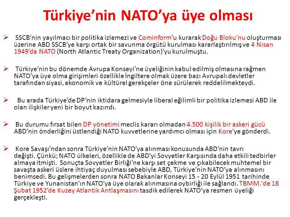 Türkiye'nin NATO'ya üye olması