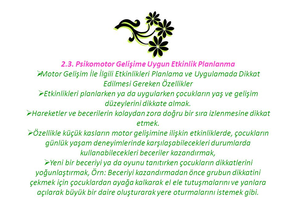 2.3. Psikomotor Gelişime Uygun Etkinlik Planlanma