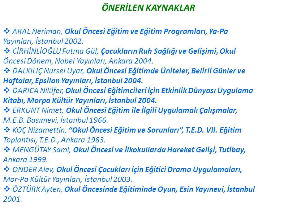 ÖNERİLEN KAYNAKLAR ARAL Neriman, Okul Öncesi Eğitim ve Eğitim Programları, Ya-Pa. Yayınları, İstanbul 2002.