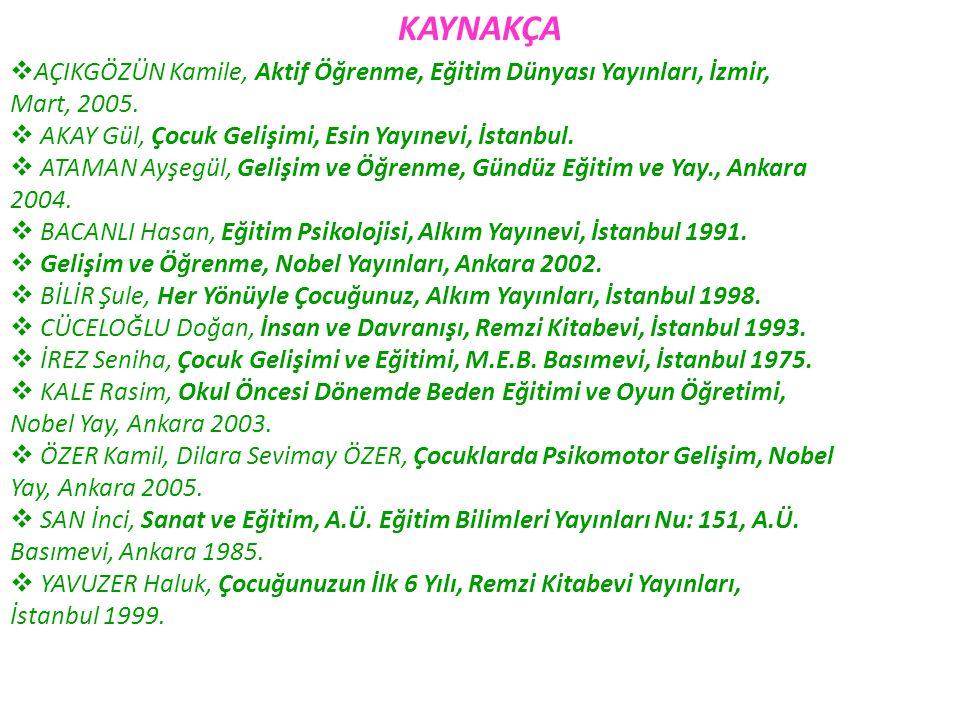KAYNAKÇA AÇIKGÖZÜN Kamile, Aktif Öğrenme, Eğitim Dünyası Yayınları, İzmir, Mart, 2005. AKAY Gül, Çocuk Gelişimi, Esin Yayınevi, İstanbul.