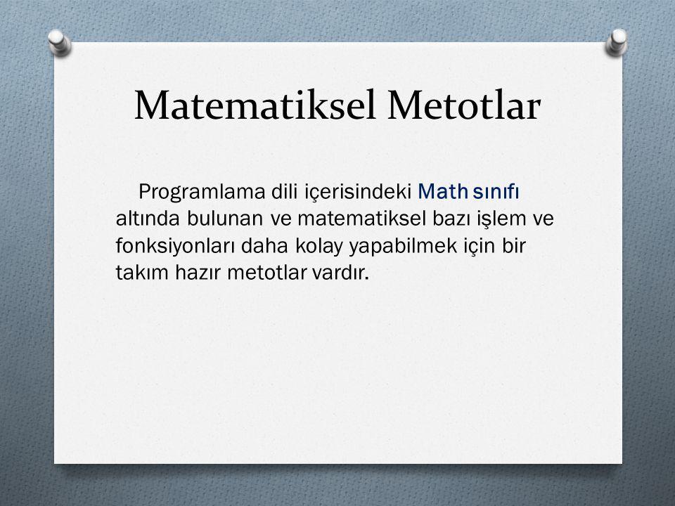 Matematiksel Metotlar