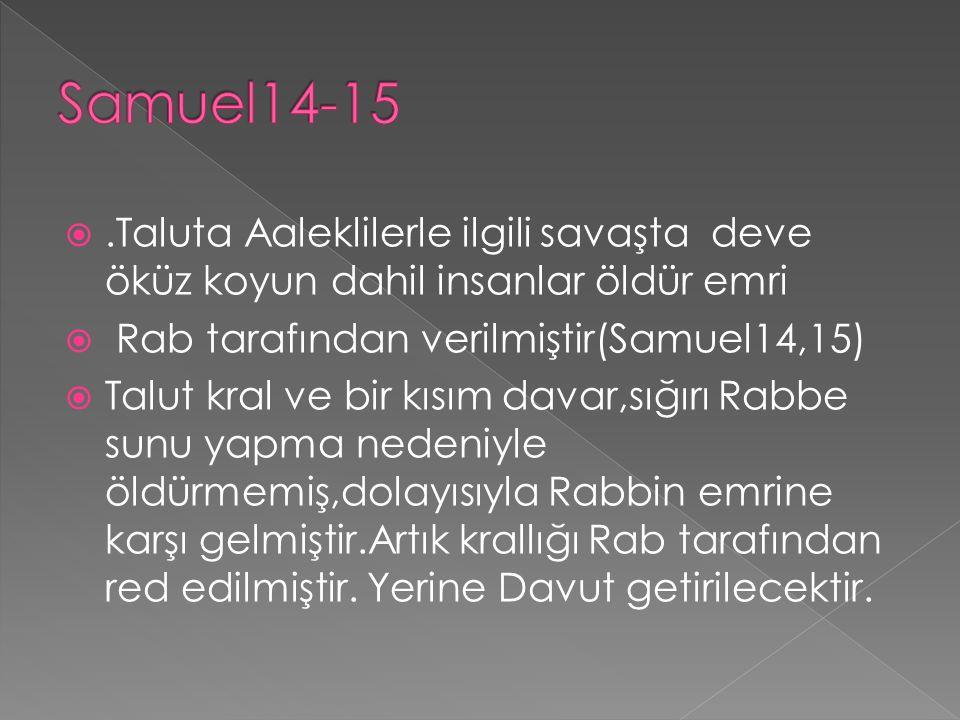 Samuel14-15 .Taluta Aaleklilerle ilgili savaşta deve öküz koyun dahil insanlar öldür emri. Rab tarafından verilmiştir(Samuel14,15)