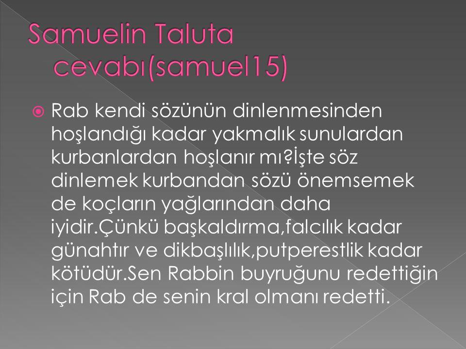 Samuelin Taluta cevabı(samuel15)